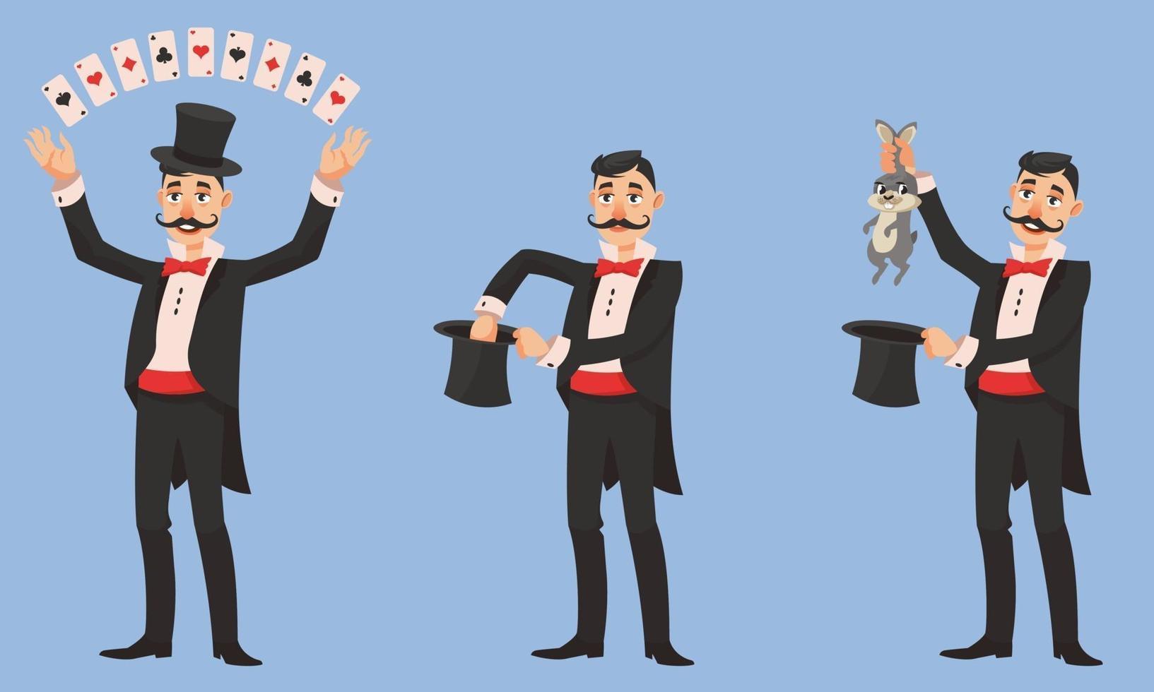 goochelaar in verschillende poses. vector