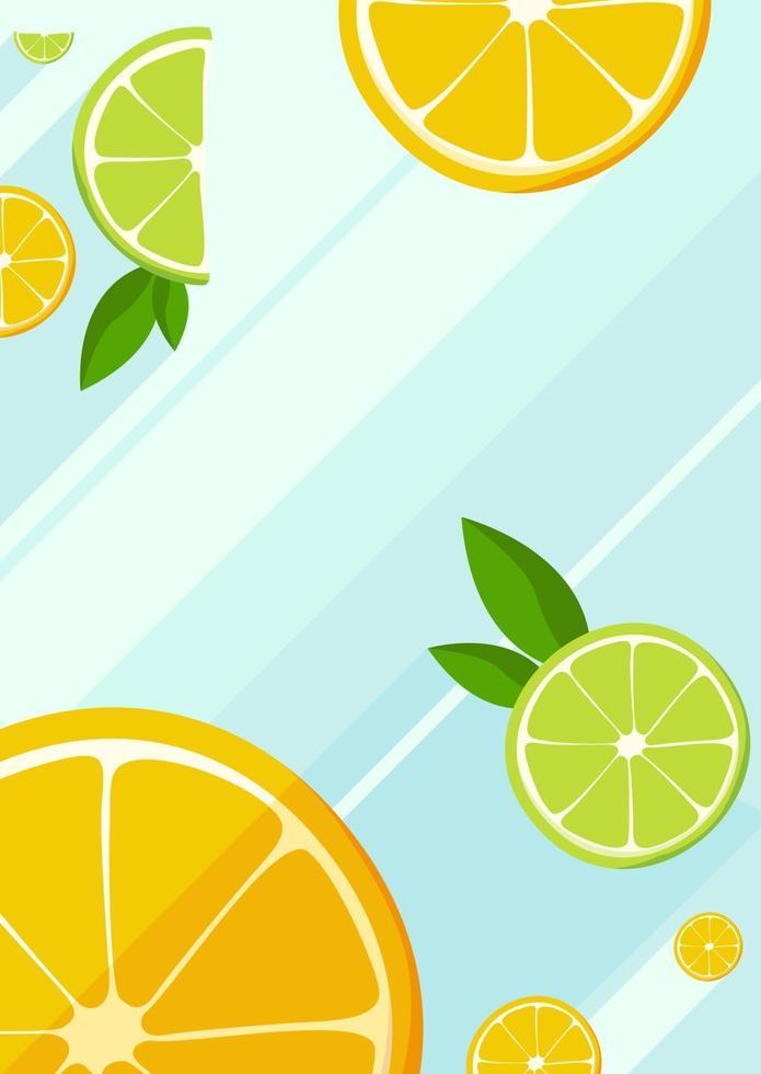 poster sjabloon met plakjes sinaasappel en limoen. vector