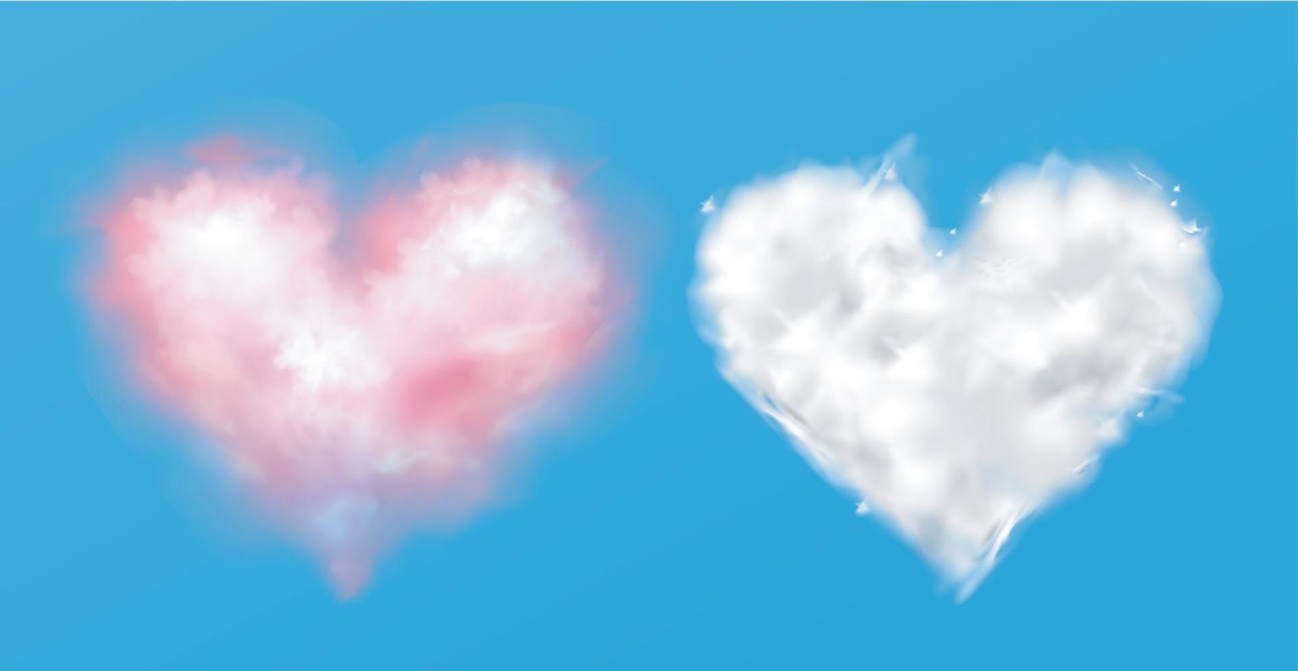 roze en witte hartwolken op geïsoleerde achtergrond, vector
