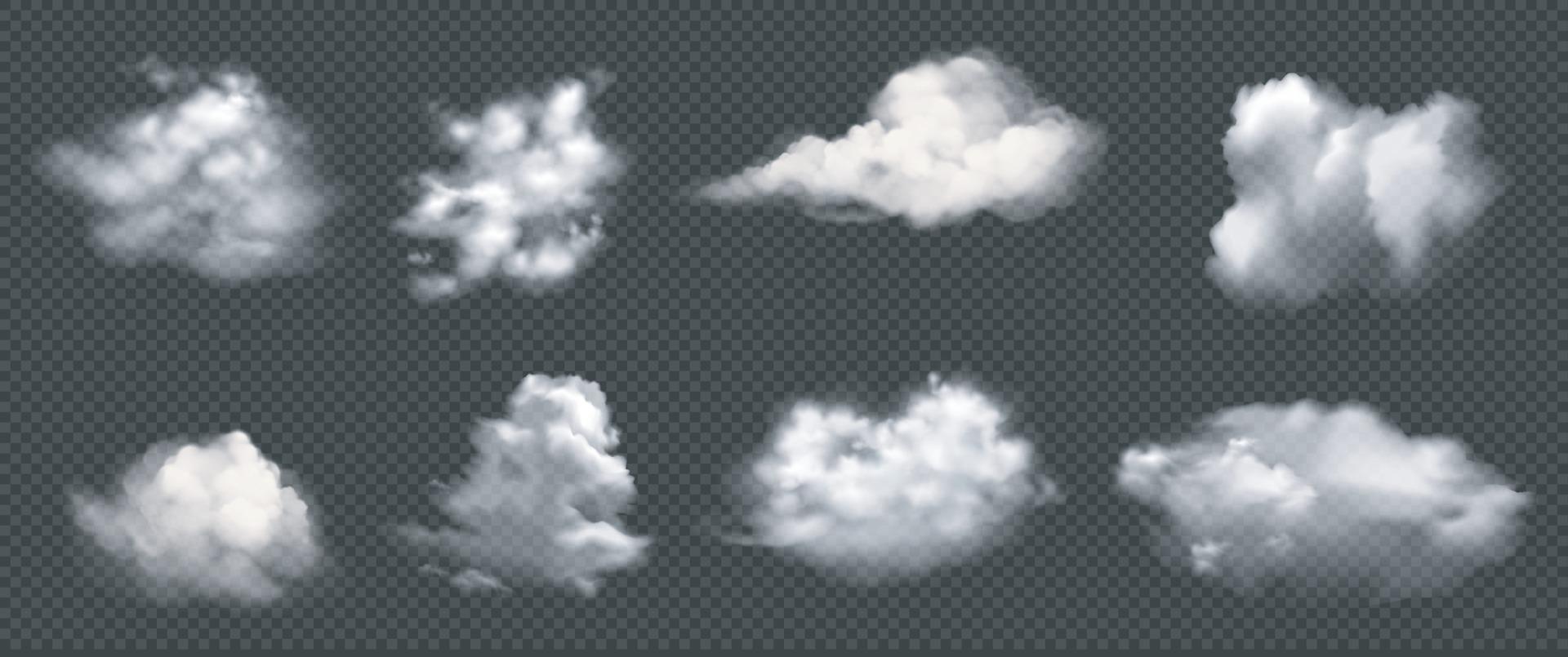 set van realistische wolken, vector