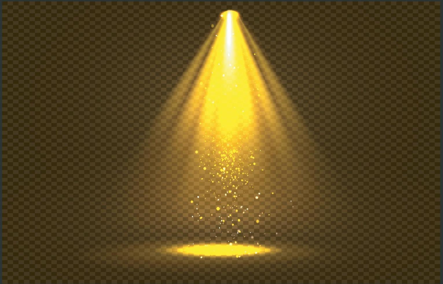 gouden schijnwerperstralen met gouden glitters, vector