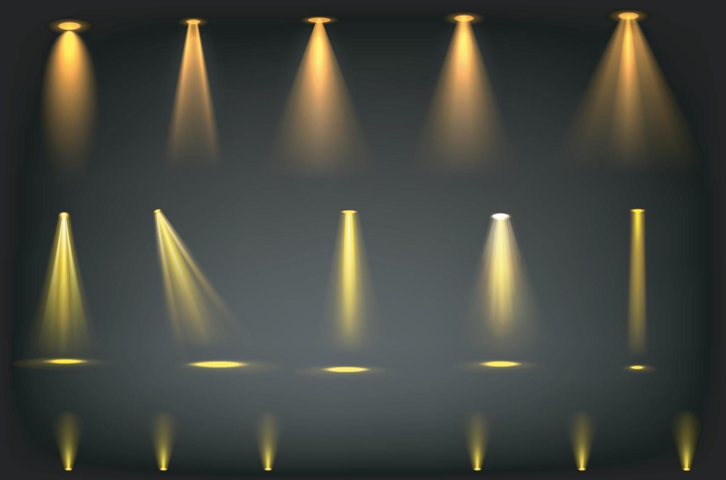 gele schijnwerpersstralen op transparante achtergrond vector