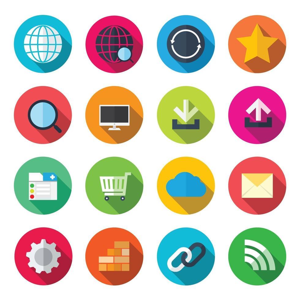 internet kleurrijke plat pictogrammen. vector illustratie