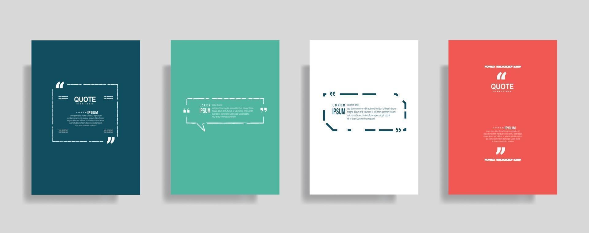 citaten frame lege sjablonen ingesteld, tekst tussen haakjes, citaat lege tekstballonnen. tekst bos geïsoleerd op een achtergrond in kleur. vector