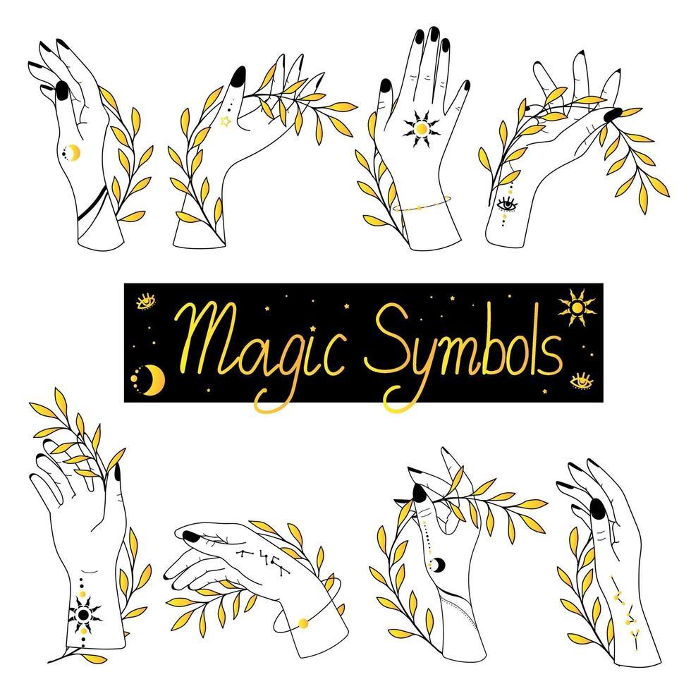 set van alchemie esoterische mystieke magie hemelse talisman met vrouwenhanden vector