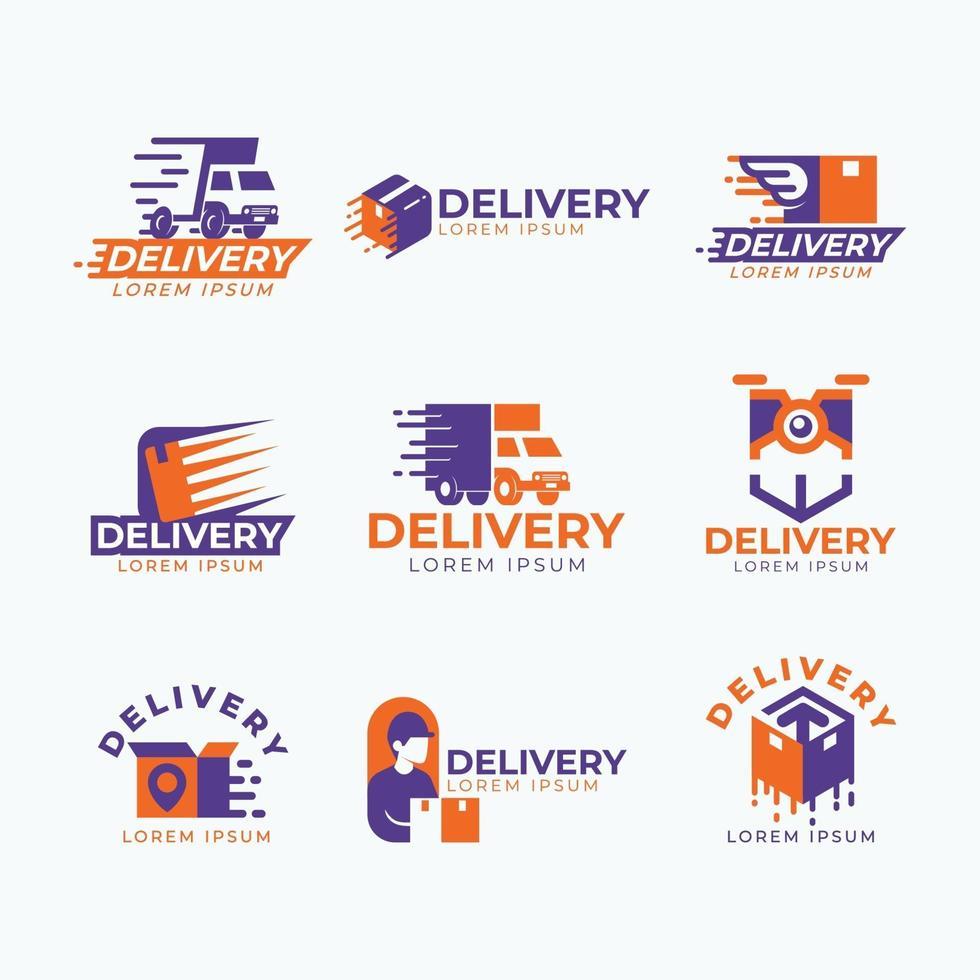 set van levering express-logo vector