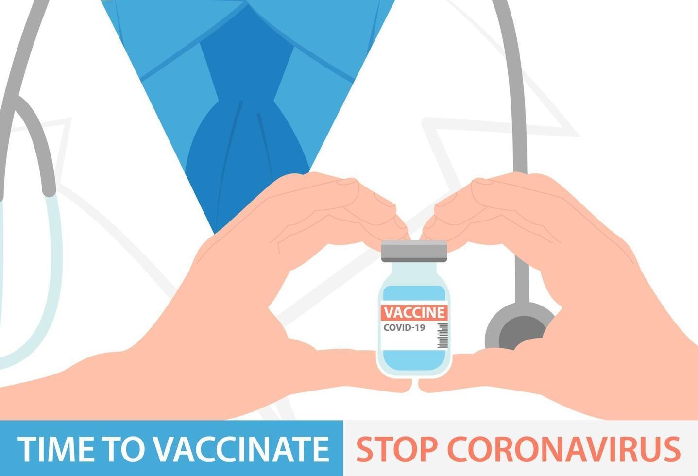 ontwerp van de banner van het coronavirusvaccin. de dokter houdt een fles covid-19-flesje in zijn handen. platte vectorillustratie vector