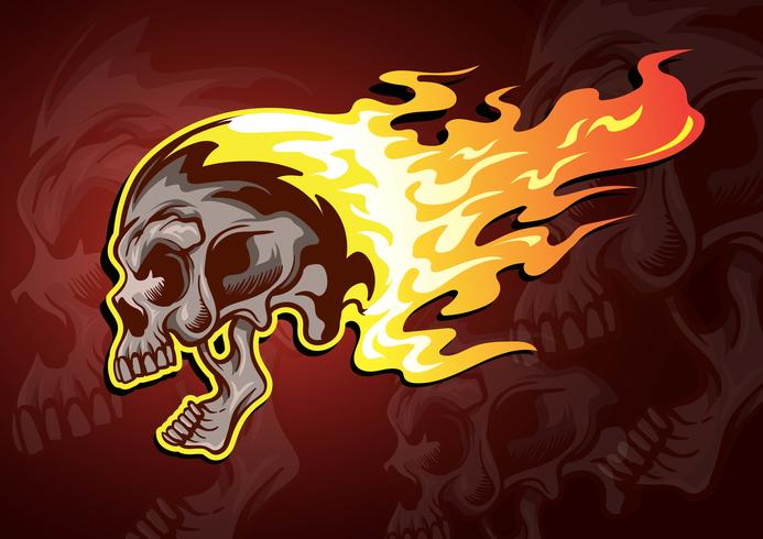Vlammende schedel vector