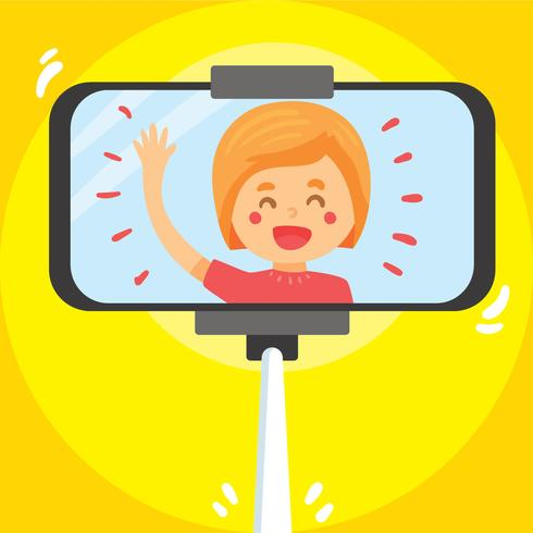 Meisje Selfie op gele Vector