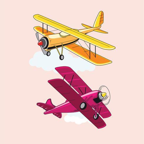 Set van dubbeldekker of vliegtuig attracties vector
