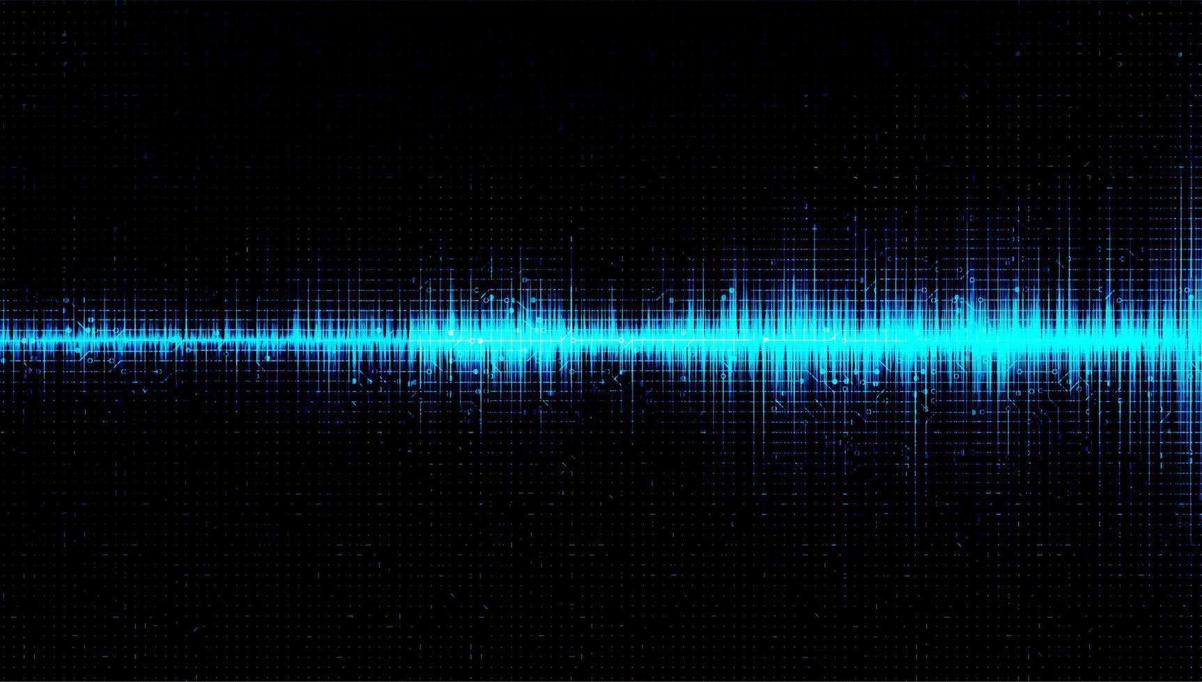 digitale geluidsgolf laag en hoog richterschaal met cirkeltrilling op lichtblauwe achtergrond vector