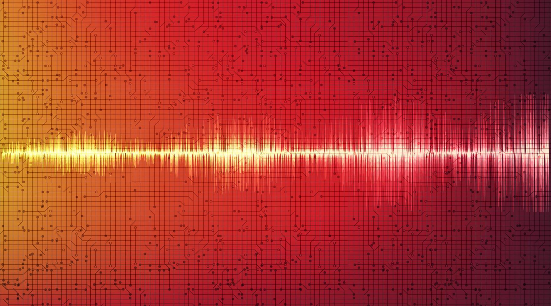 abstract rood digitaal geluidsgolf en aardbevingsgolfconcept vector