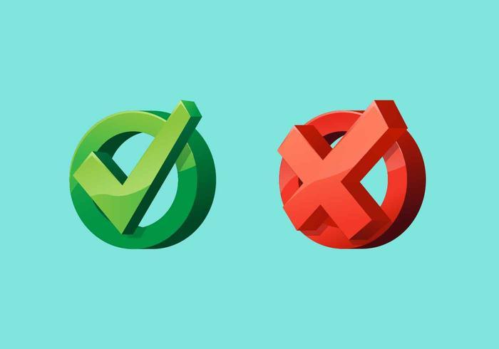 Juiste en verkeerde vectorillustratie vector