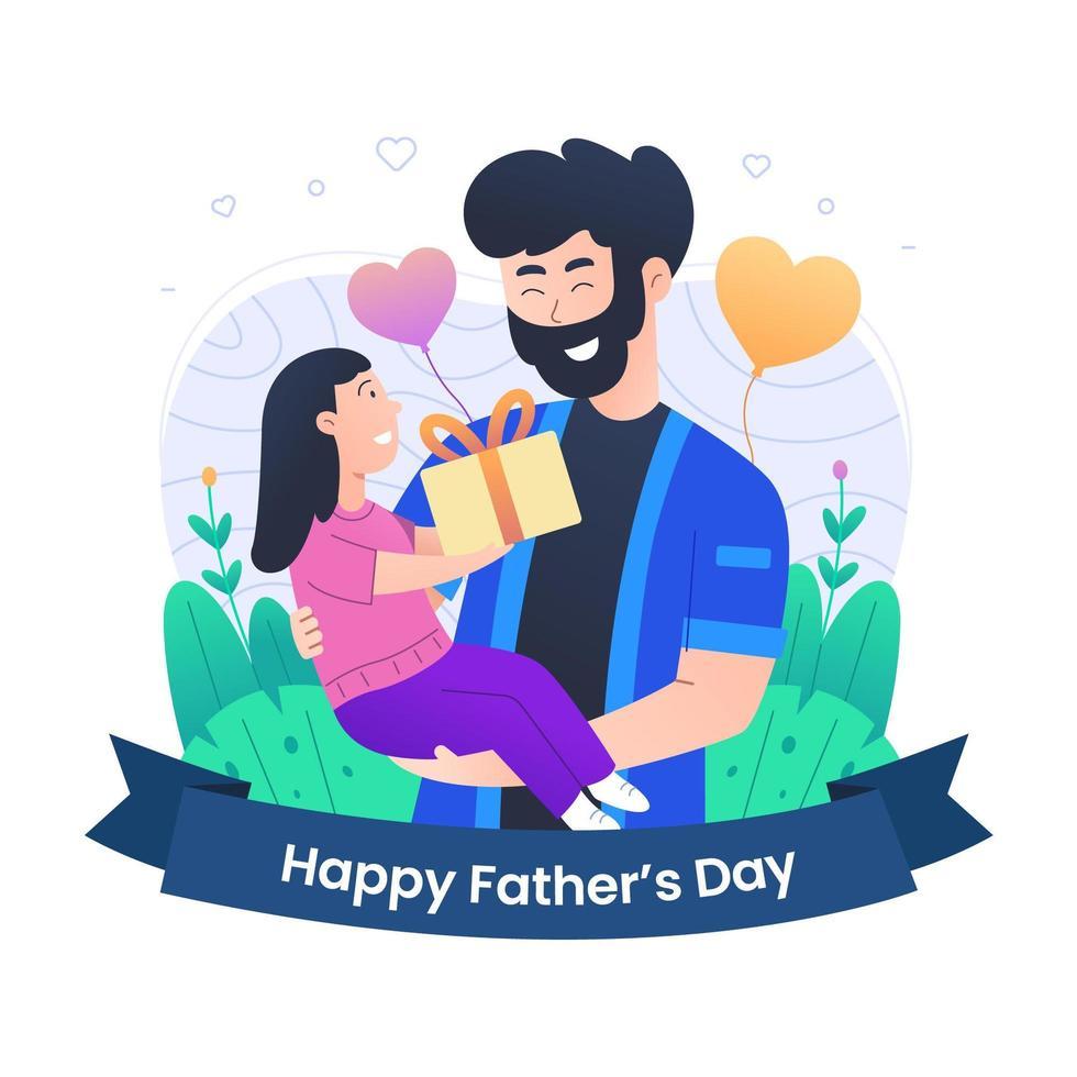 gelukkige vaderdag met dochterviering vector