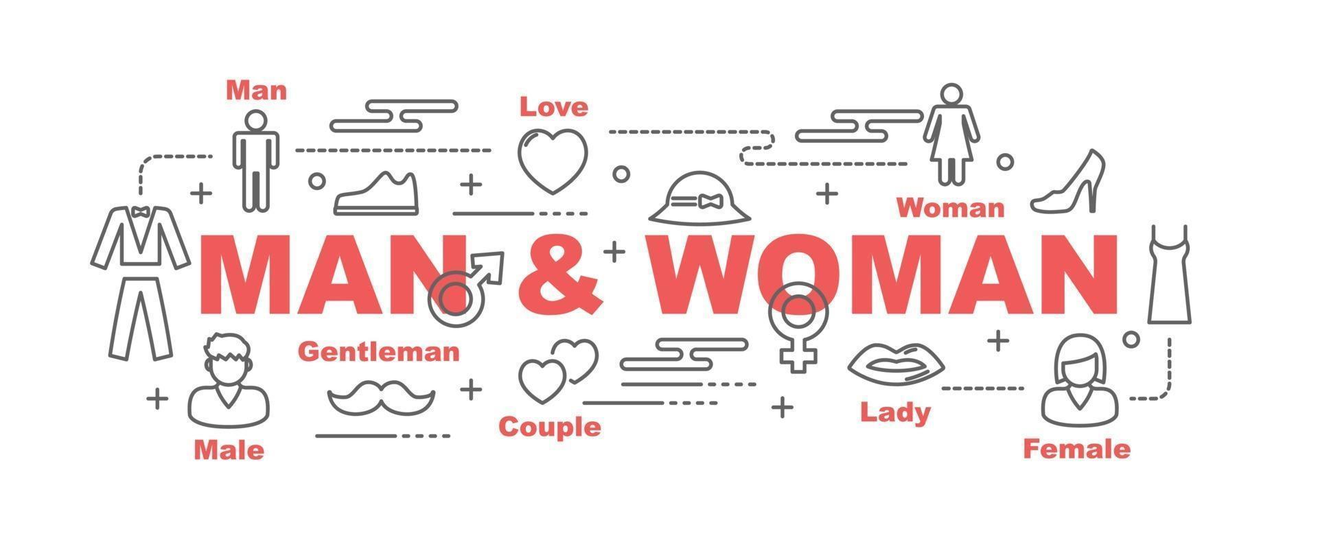 man en vrouw vector banner