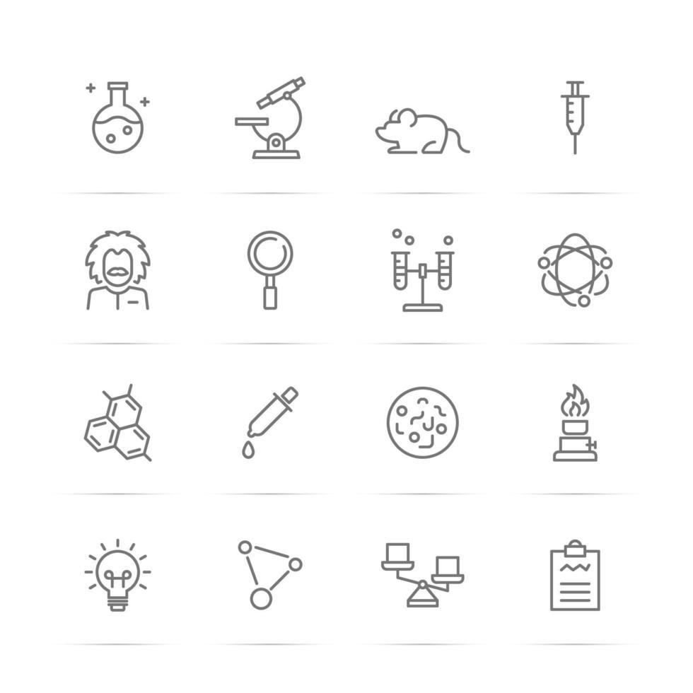 wetenschappelijke experimenten vector lijn iconen