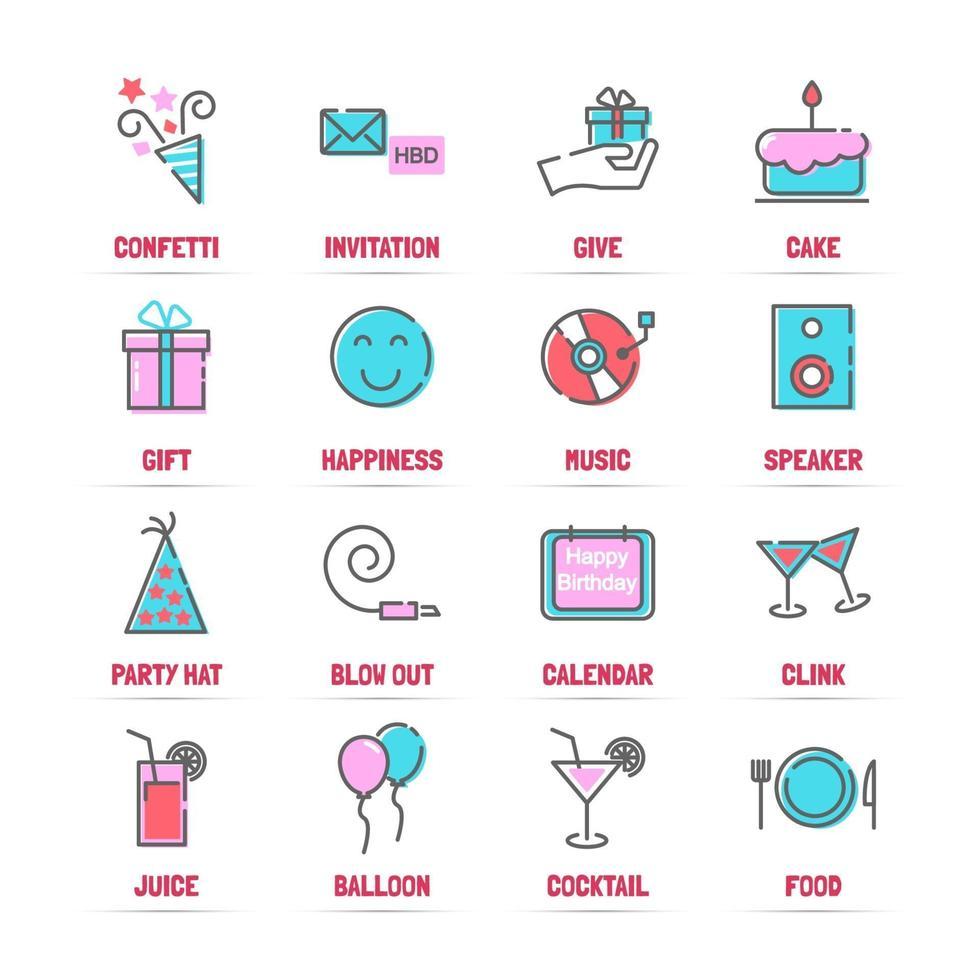 verjaardag vector lijn iconen met vlakke kleuren