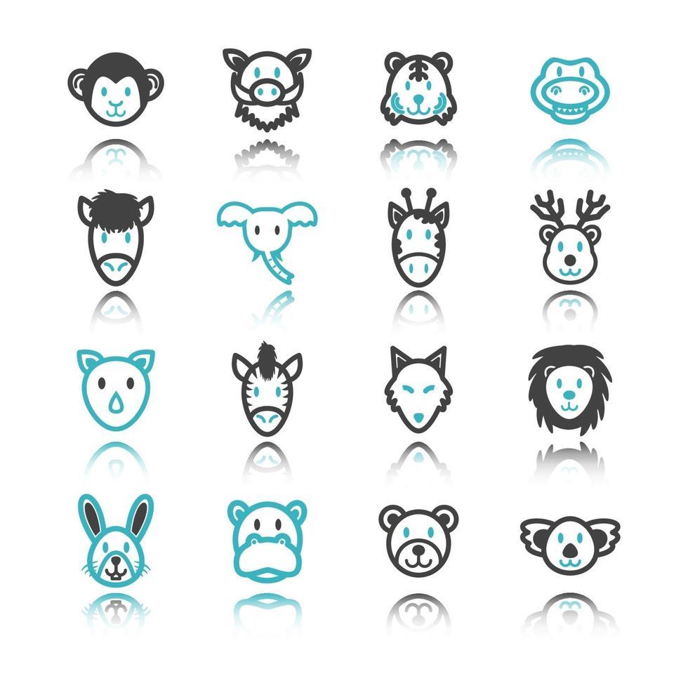 wilde dieren pictogrammen met reflectie vector