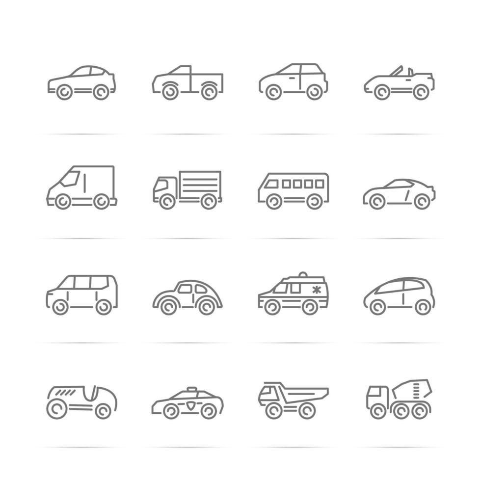 auto vector lijn pictogrammen