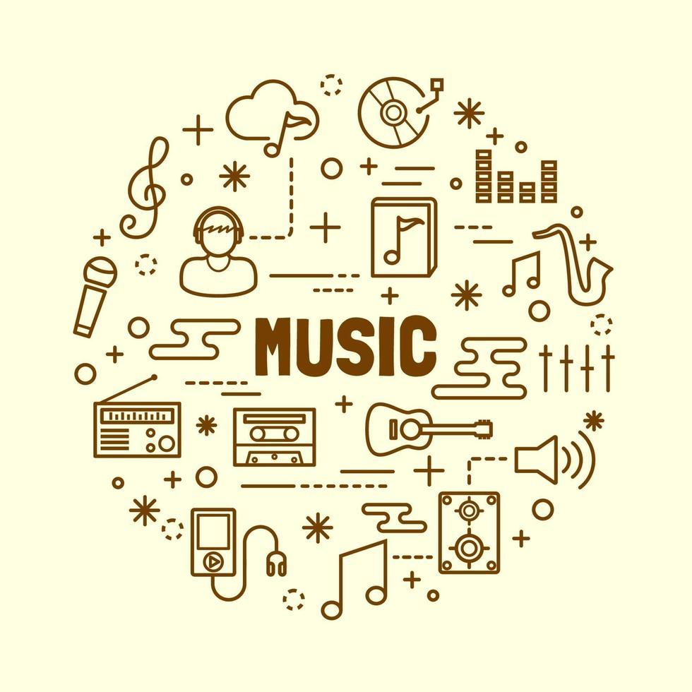 muziek minimale dunne lijn iconen set vector