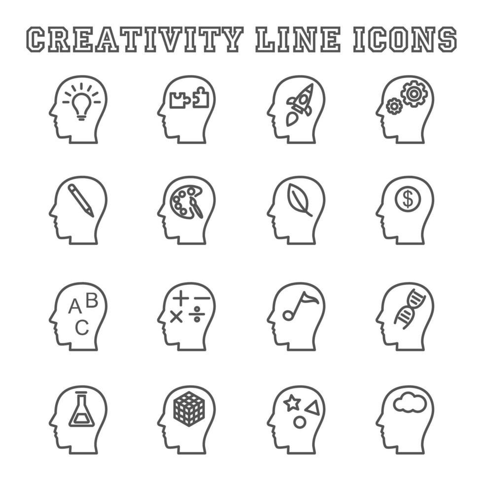 creativiteit lijn pictogrammen vector