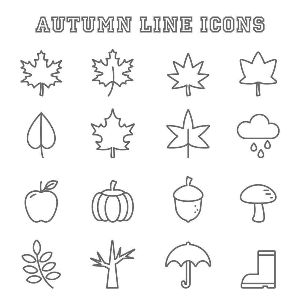herfst lijn pictogrammen vector