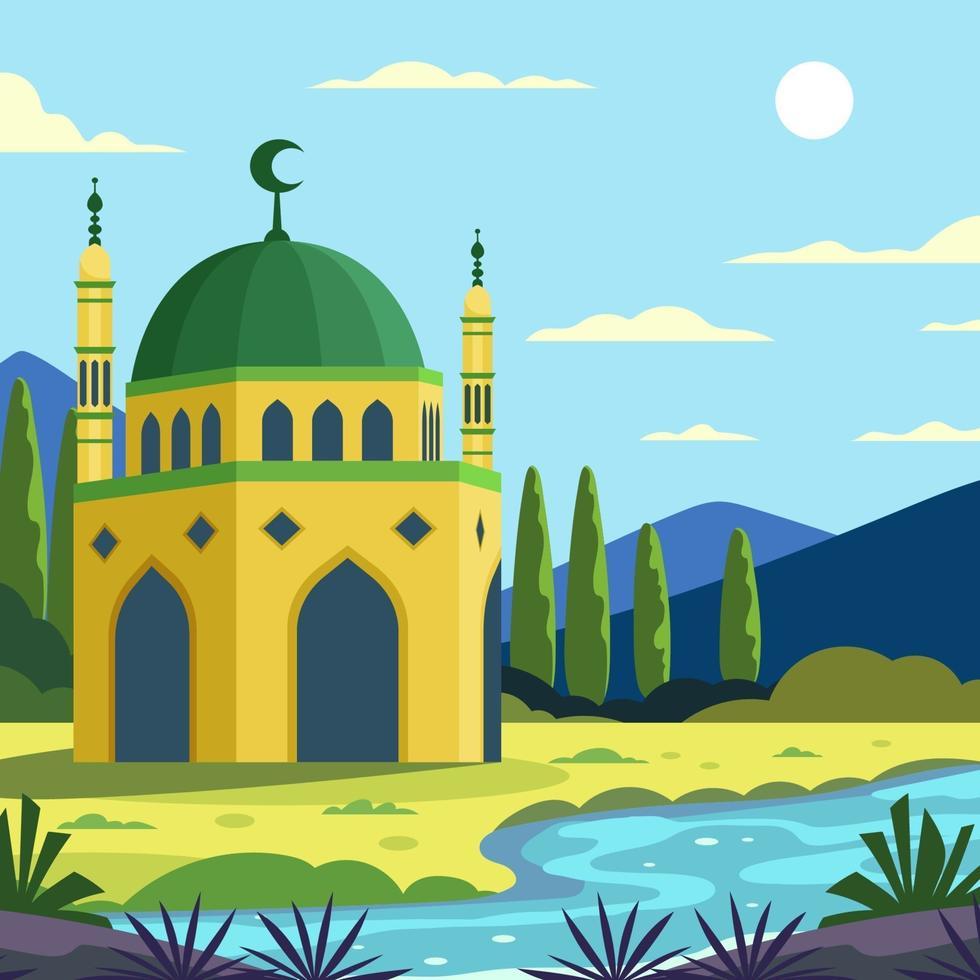 de schoonheid van de moskee met natuurlijk uitzicht vector