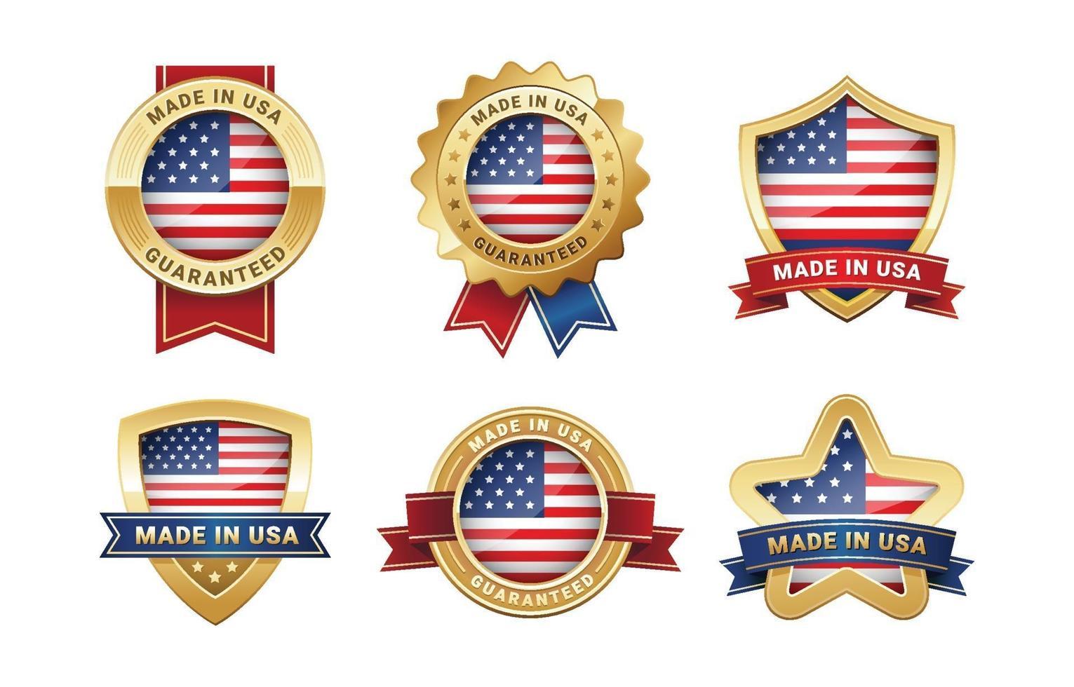 gemaakt in de VS gouden logo set vector