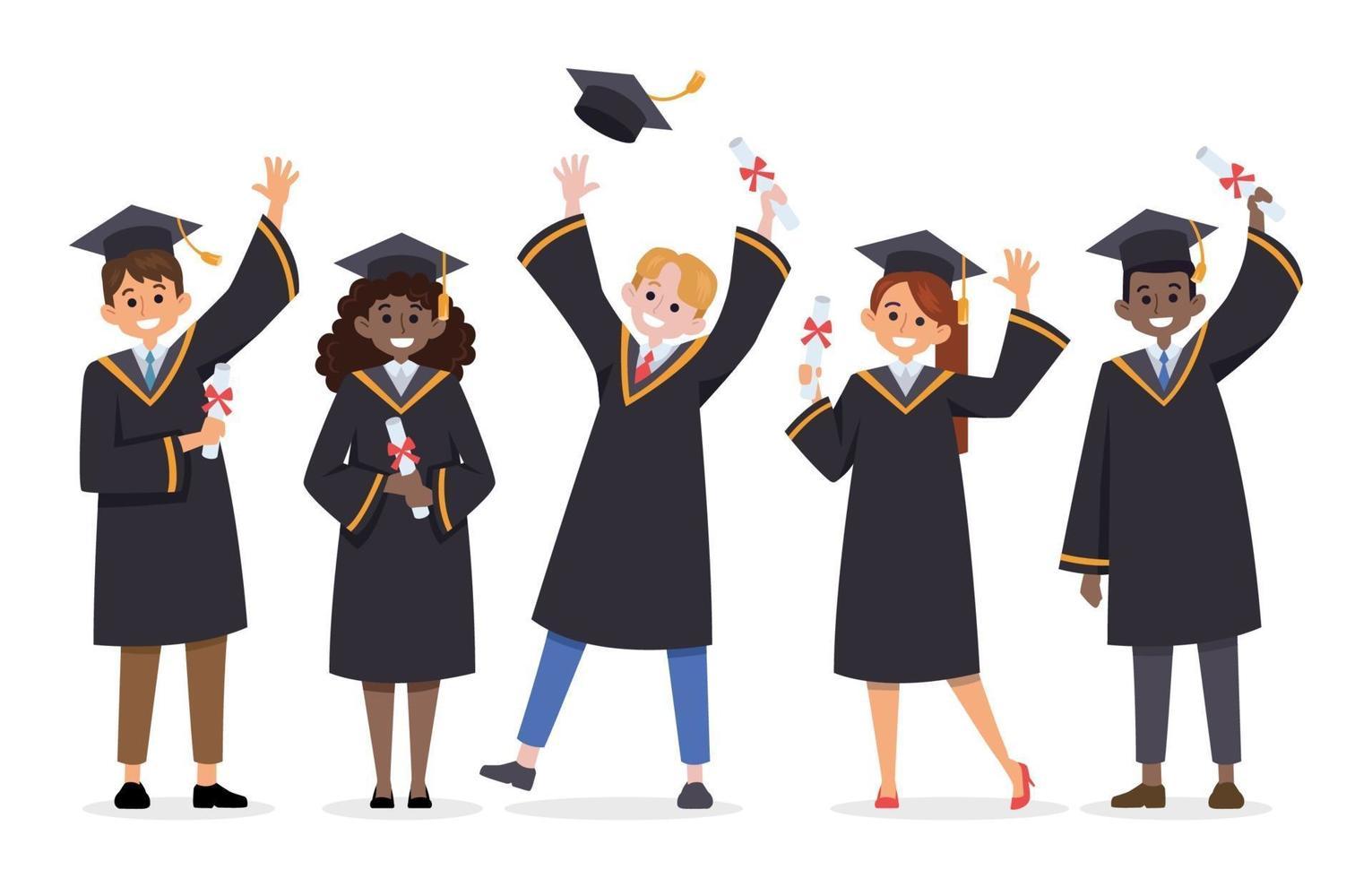 gelukkige studenten die hun afstuderen vieren vector