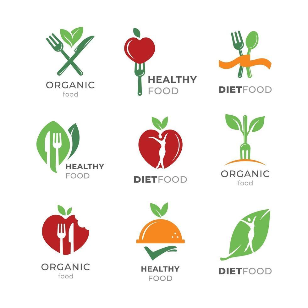 gezonde voeding eenvoudige logo set vector
