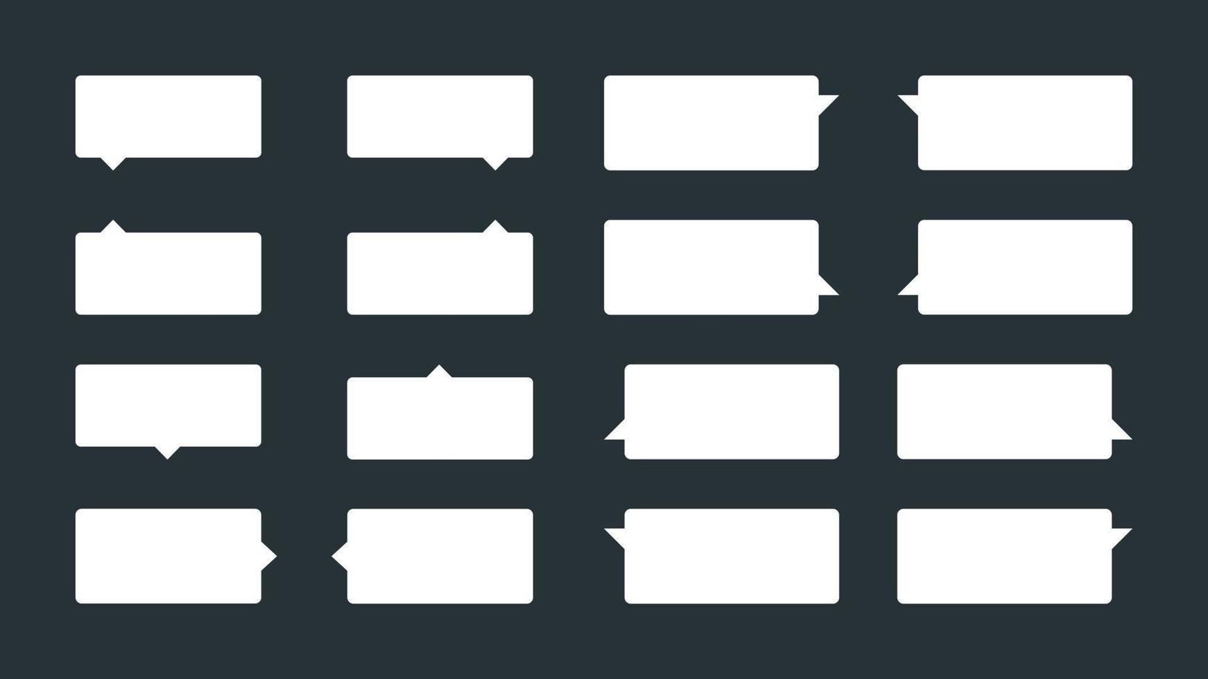 set van 16 eenvoudige tooltips of spraakballonnen. platte vector tekstballonnen, dialoogballonnen of woordballonnen. kan worden gebruikt in strips en als tips of meldingen op sites.