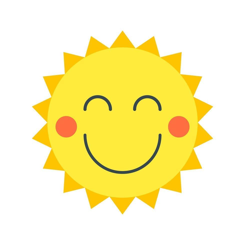 lachende zon in cartoon-stijl. vector geïsoleerd object. perfect voor reizen, reclame, kinderwebsites en drukwerk.