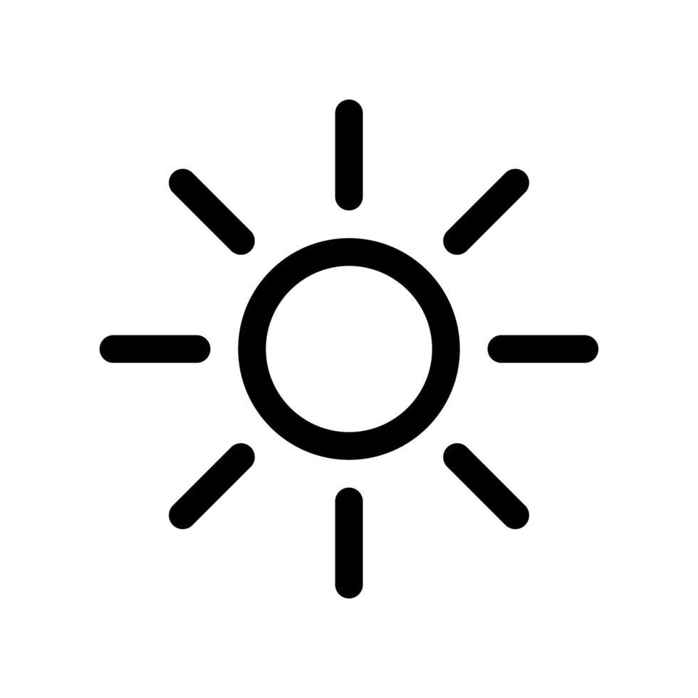 zon overzicht pictogram. zwart-wit item uit set toegewijde weater, lineaire vector. vector