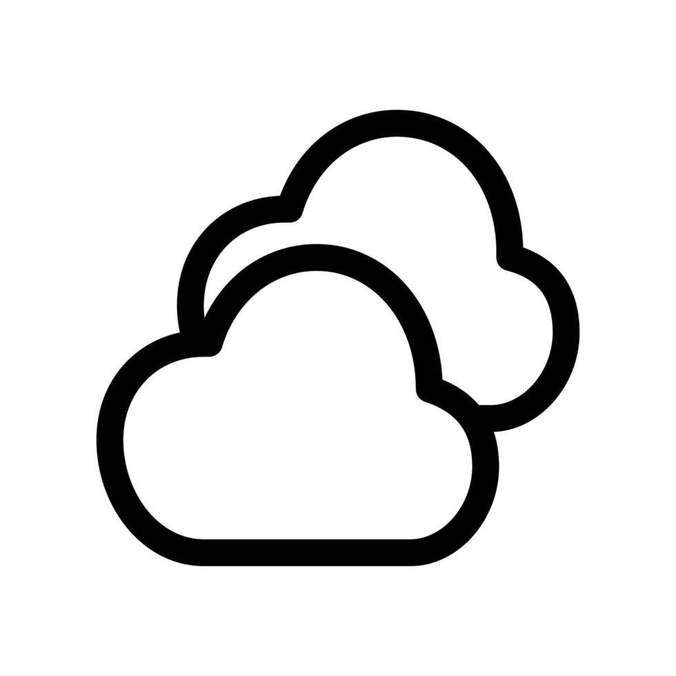 wolken overzicht pictogram. zwart-wit item uit set toegewijde weater, lineaire vector. vector