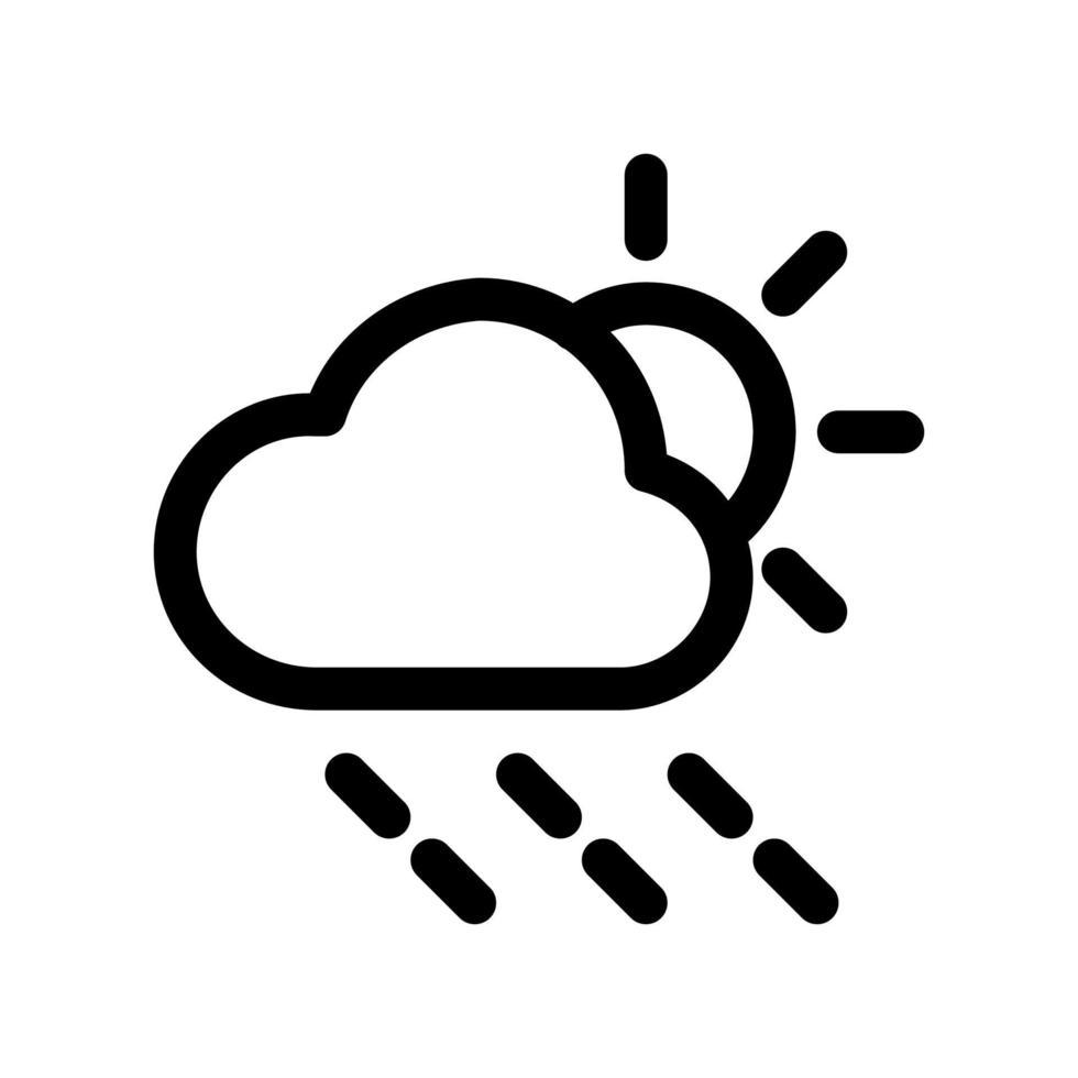 regen en zon overzicht pictogram. zwart-wit item uit set toegewijde weater, lineaire vector. vector