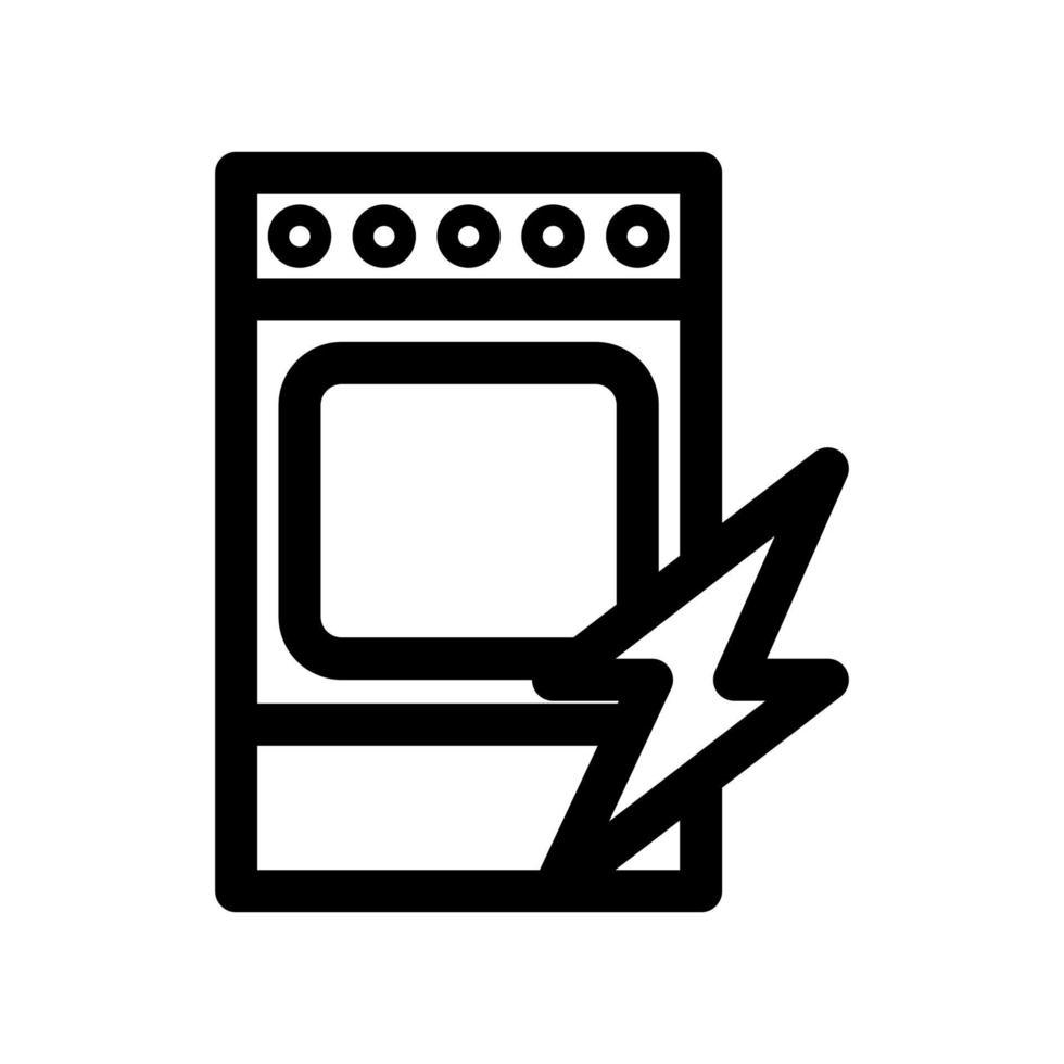 huishoudelijke apparaten - elektrisch fornuis overzicht pictogram. zwart-wit item uit set, lineaire vector. vector