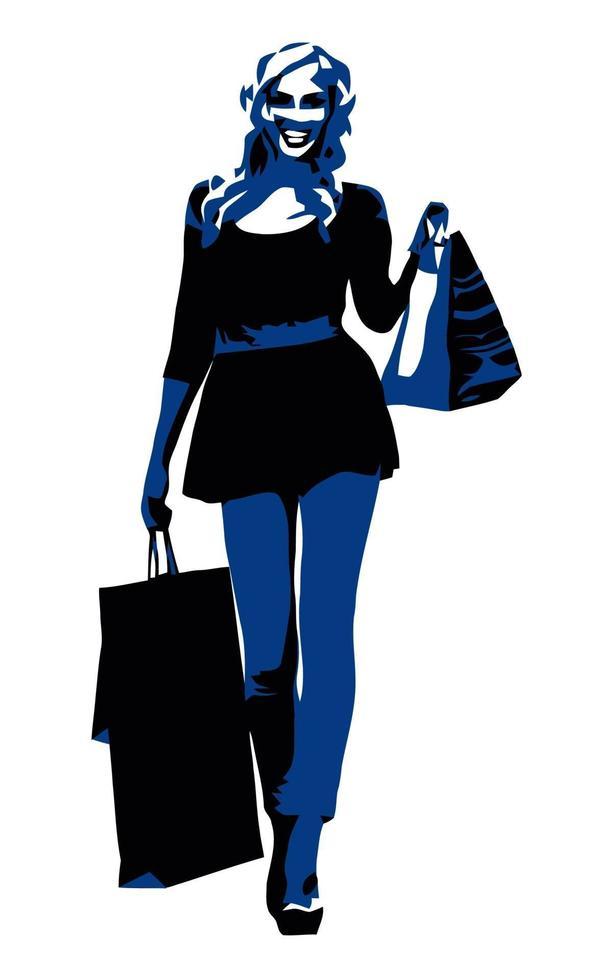 vrouw met boodschappentassen over wit vector
