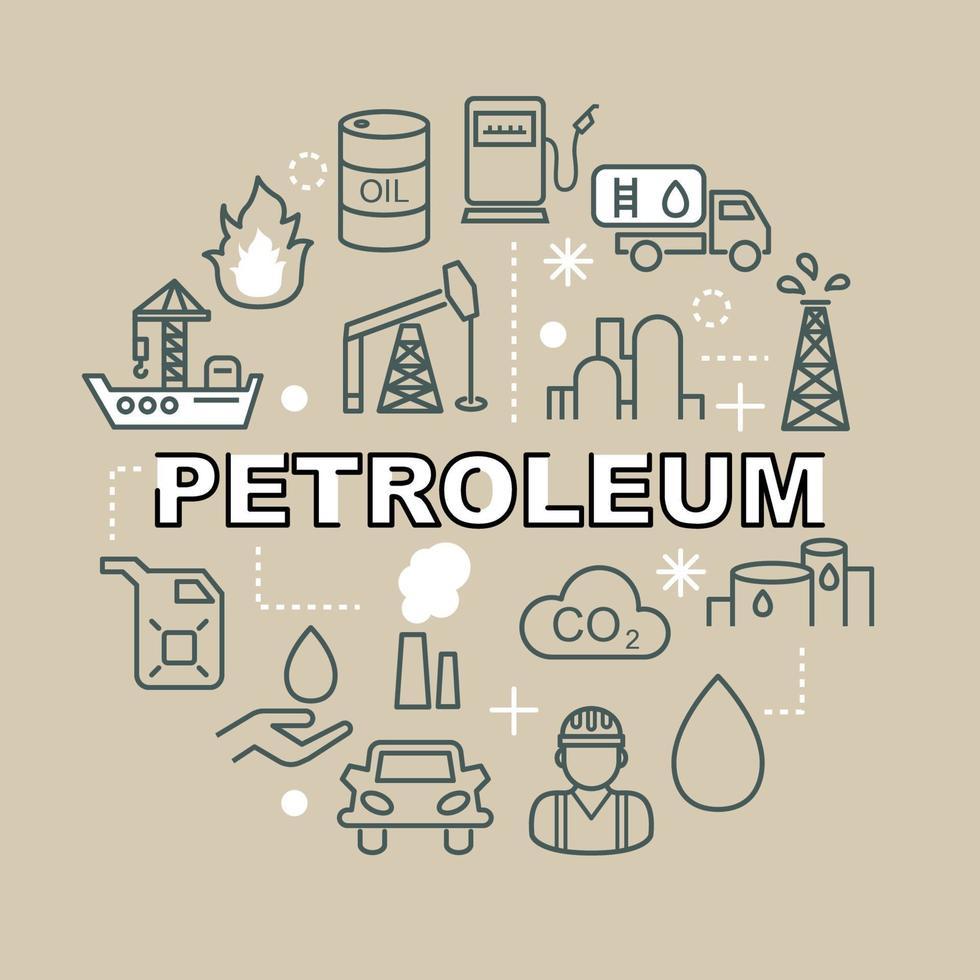petroleum minimale overzicht pictogrammen vector