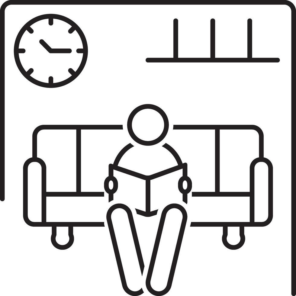 lijn pictogram voor wachtkamer vector