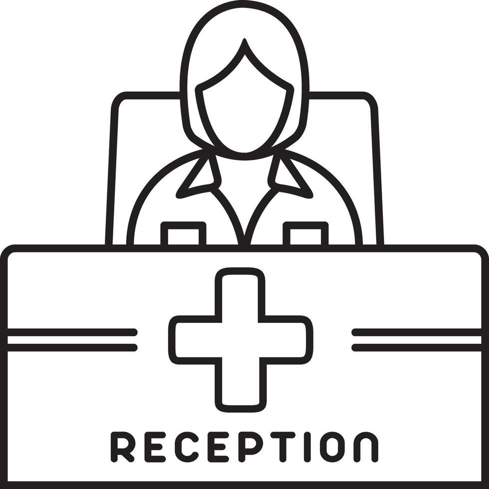 lijnpictogram voor receptioniste vector
