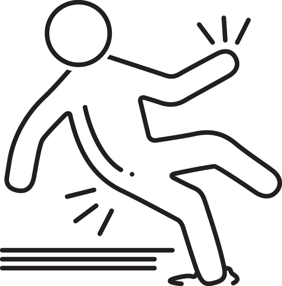 lijnpictogram voor slipongeval vector