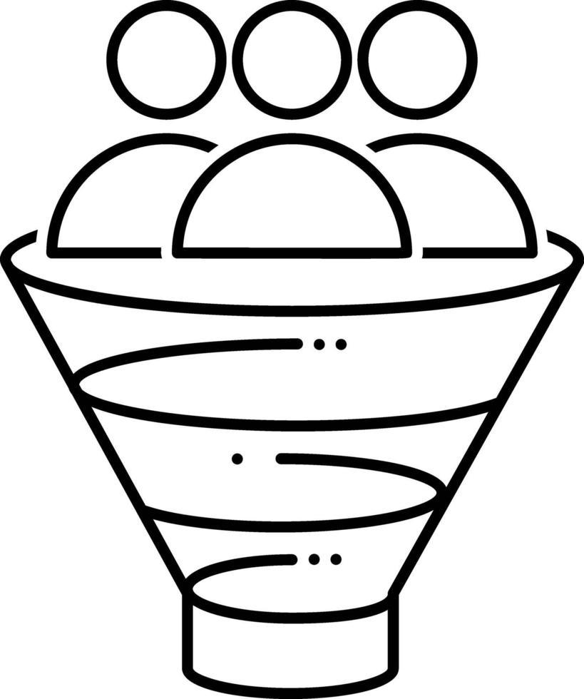 lijnpictogram voor verkooptrechter vector