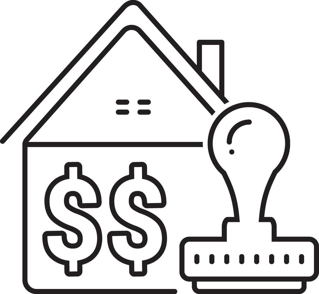 lijnpictogram voor goedgekeurde woningkrediet vector