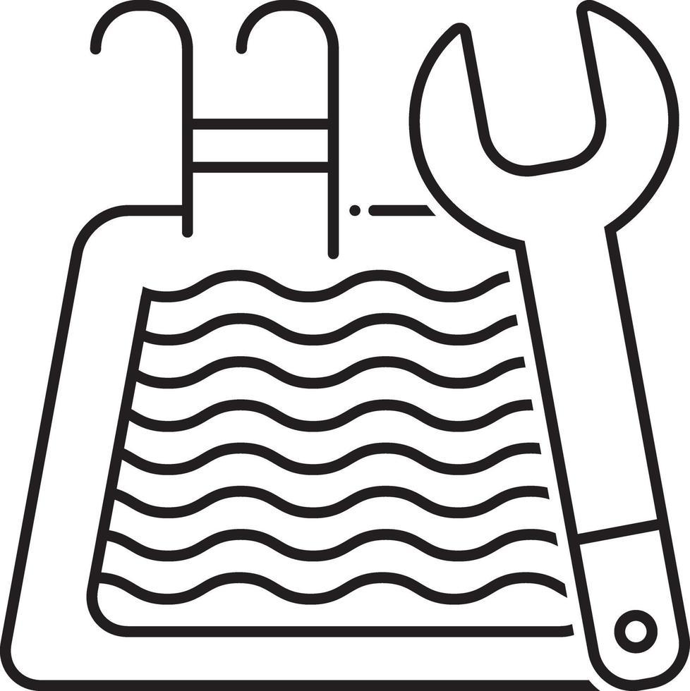 lijn pictogram voor zwembadonderhoud vector