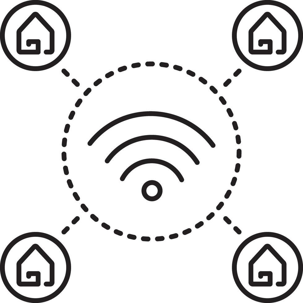 lijn pictogram voor wifi thuis vector