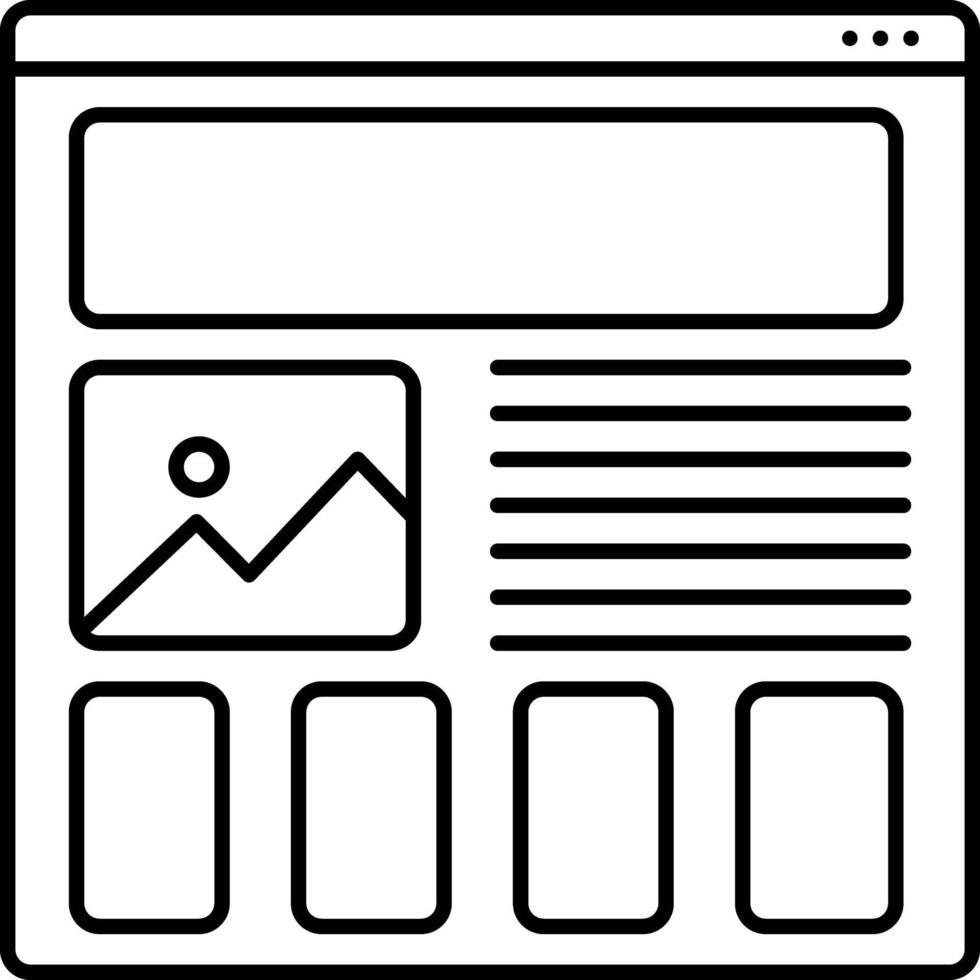 lijnpictogram voor prototyping van wireframing vector