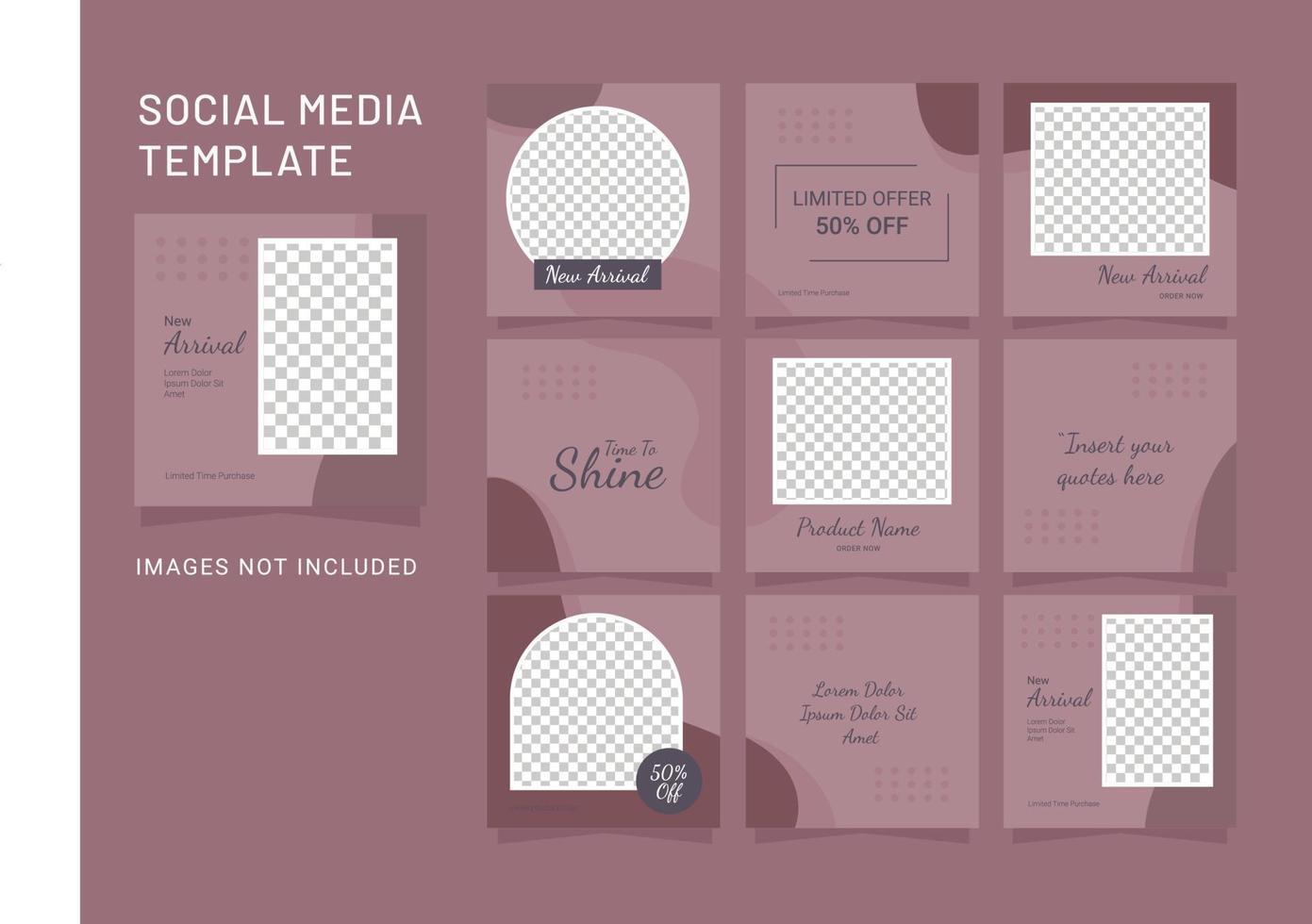 sociale media sjabloon mode vrouwen plaatsen puzzel vector