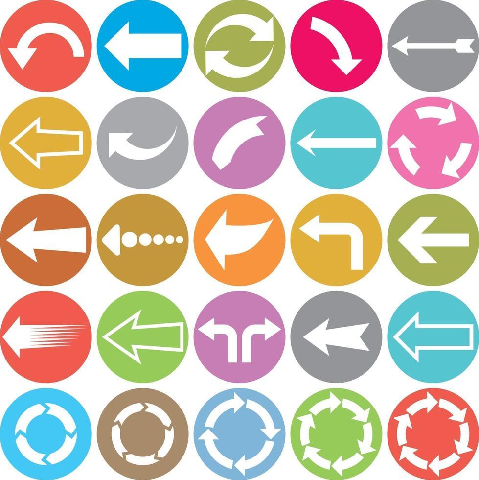 pijl plat pictogrammen vector