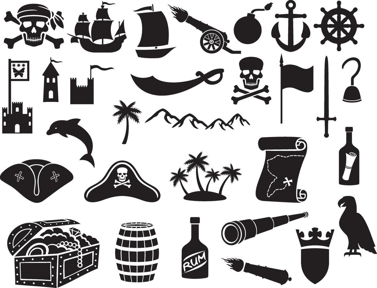 piraten pictogrammen instellen vector