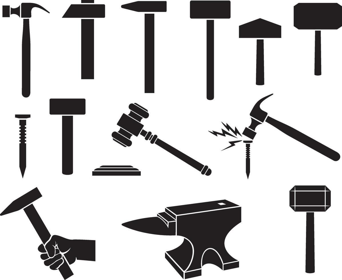hamers geplaatste pictogrammen - zwarte silhouetten vector